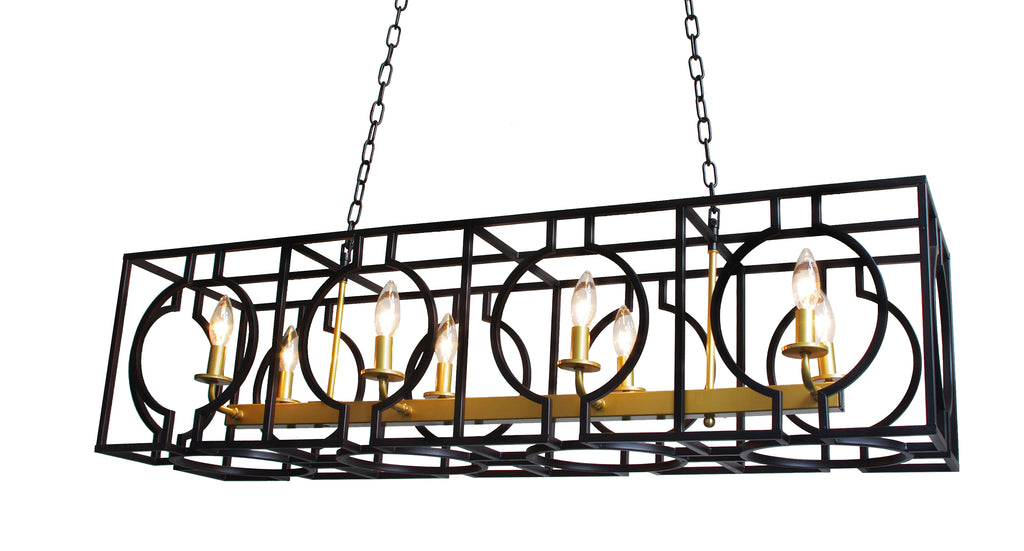 "Wrought Iron Vintage Barn Metal Camino Chandelier Chandeliers Industrial  Loft Rustic Lighting Rectangular Shape- H 15.5"" W 15"" L 43"" - G7-3430/8"
