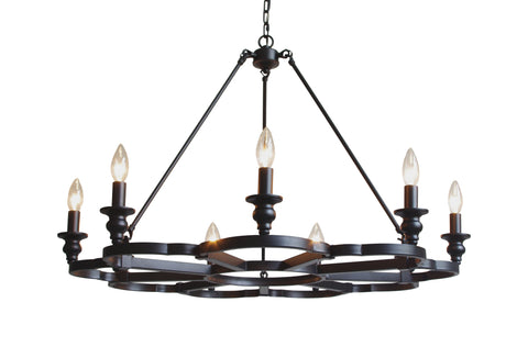 "Wrought Iron Vintage Barn Metal Camino Chandelier Chandeliers Industrial  Loft Rustic Lighting H 23.5"" W 34"" - G7-3430/9"