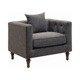 Set of 2 - Ellery Tuxedo Arm Tufted Sofa + Chair Grey - D300-10061