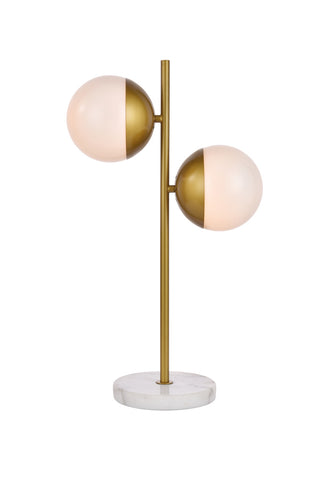 ZC121-LD6156BR - Living District: Eclipse 2 Lights Brass Table Lamp With Frosted White Glass