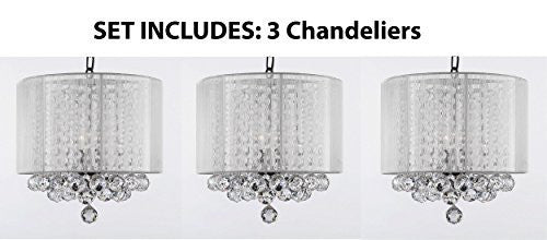 "Set Of 3 Crystal Chandelier With Large White Shade & Balls H15"" X W15"" - Set Of 3 G7-B6/White/Sm/604/3"