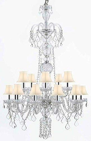 "Crystal Chandelier Chandeliers Lighting with White Shades w/Chrome Sleeves H48"" x W32"" - G46-B43/WHITESHADES/CLEAR/590/15"