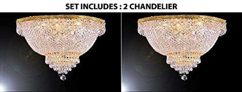 "Set Of 2 - French Empire Crystal Semi Flush Chandelier Lighting H18"" X W24"" - A93-Flush/870/9 - Set Of 2"