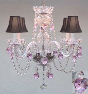 Crystal Chandelier Lighting With Black Shades & Pink Crystal Hearts! - Perfect For Kid'S And Girls Bedroom! - G46-B23/Blackshades/275/4