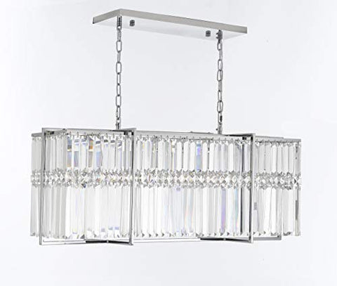 "8 Light 37"" Modern Contemporary Crystal Chandelier Rectangular Chandeliers LightingLimited Edition - G7-92606/8"