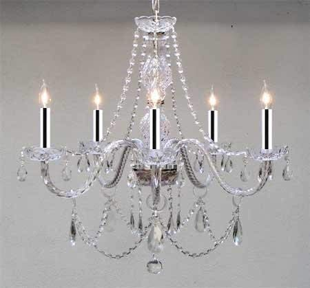"Swarovski Crystal Trimmed Chandelier! Chandeliers Lighting w/Chrome Sleeves 25X24 H25"" X W24"" - GO-B43/A46-380/5SW"
