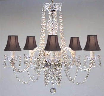 "Swarovski Crystal Trimmed Chandelier Authentic All Crystal Chandelier And Black Shades H25"" W24"" - A46-Blackshades/384/5Sw"