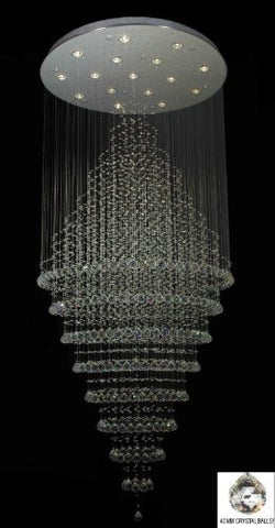 "New ! Modern Contemporary Chandelier ""Rain Drop"" Chandeliers H 100"" W 41"" (Over 8Ft Tall!) - G902-B6/6874-16"