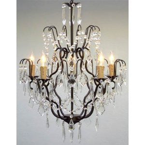 "Swarovski Crystal Trimmed Chandelier Wrought Iron Crystal Chandelier Lighting H27"" X W21"" Swag Plug In-Chandelier W/ 14' Feet Of Hanging Chain And Wire - J10-B16/C/26034/5 SW"