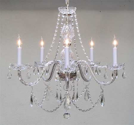"MURANO VENETIAN STYLE ALL CRYSTAL CHANDELIER H25"" x W24"" - Go-A46-380/5"