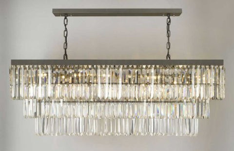 "Retro Palladium Glass Fringe Rectangular Chandelier Lighting W 49"" D 14"" H 18"" - G902-1156/12"