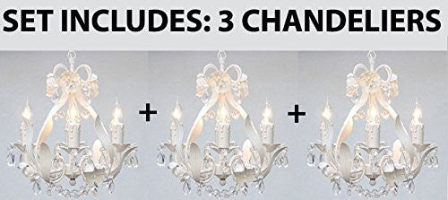 Set Of 3 White Wrought Iron Floral Chandelier Crystal Flower Chandel Gallery Chandeliers