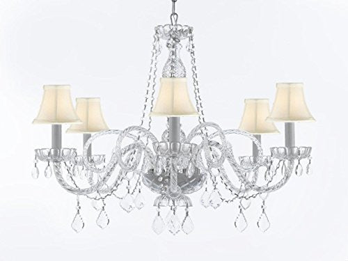 "Crystal Chandelier Lighting With White Shades H27"" X W32"" - G46-Sc/Whiteshades/B67/385/6"