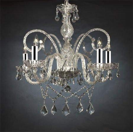 "Authentic All Crystal Chandelier Chandeliers w/Chrome Sleeves H25"" x W24"" - GO-B43/A46-386/5"
