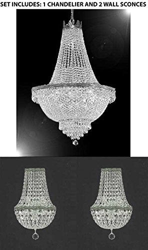 "Set Of 3 - 1 Swarovski Crystal Trimmed Chandelier! Empire Chandelier Lighting ! H 30"" X W 24"" And 2 Swarovski Crystal Trimmed Chandelier! Empire Crystal Wall Sconce Lighting W 9.5"" H 18"" D 5"" - 1Ea-Cs/870/9 + 2Ea-Cs/4/5/Wallsconce-Sw"