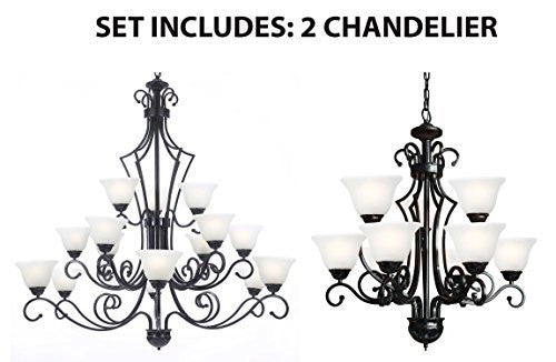 Set Of 2 - 1 For Entryway/Foyer And 1 For Dining Room Wrought Iron Chandelier - 1Ea B22/451/9 + 1Ea B22/26057/15