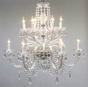 Crystal Chandelier Lighting Dressed with Swarovski Crystal H27 X W32 - Good for Dining Room, Foyer, Entryway, Family Room and More! - G46-385/6+6SW