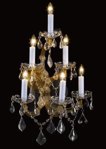 "Swarovski Crystal Trimmed Chandelier! Maria Theresa Wall Sconce Lighting H24"" X W16"" - A83-6/66Sw"