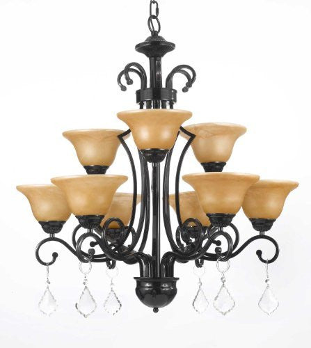 "Wrought Iron Crystal Chandelier H30"" X W28"" - A84-C/451/9"