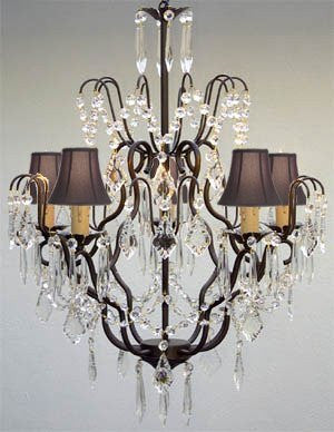 "New Wrought Iron & Crystal Chandelier With Black Shades H27"" X W21"" - J10-Blackshades/C/26034/5"