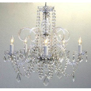 "Crystal Chandelier Lighting H25"" X W24"" Swag Plug In-Chandelier W/ 14' Feet Of Hanging Chain And Wire! - A46-B15/385/5"