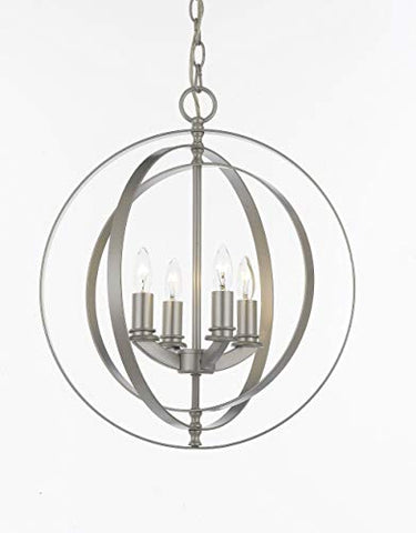 Contemporary Silver 4 Light Orb Chandelier Pendant Lighting - J10-10-ORB/4