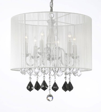 Crystal Chandelier W/ Large White Shade Jet Black Crystal Pendants - F7-B20/1126/6