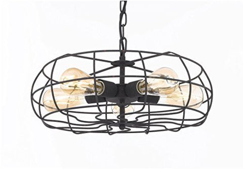 Wrought Iron Vintage Barn Metal Pendant Chandelier Industrial Loft Rustic Lighting W/ Vintage Bulbs Included Great For Kitchen Island Lighting - G7-80438/5Bulb
