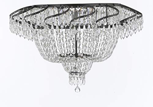 "Swarovski Crystal Trimmed French Empire Flush Chandelier H20"" X W24"" with Dark Antique Finish! Good for Dining Room, Foyer, Entryway, Family Room and More! - A93-FLUSH/CB/928/9SW"