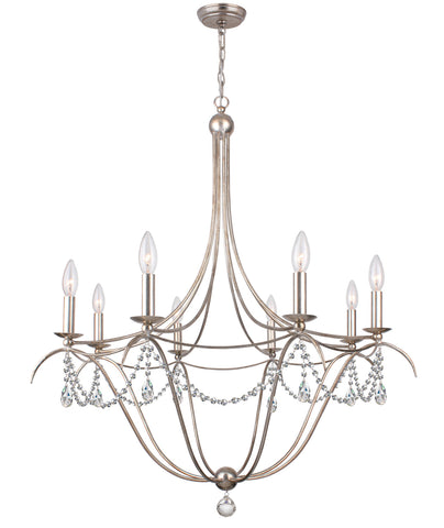 8 Light Antique Silver Modern Chandelier Draped In Clear Spectra Crystal - C193-418-SA-CL-SAQ