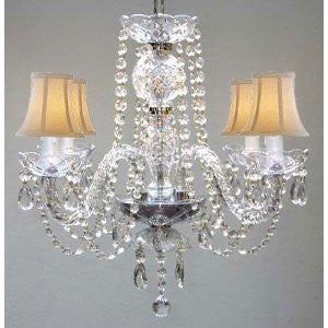 Murano Venetian Style All Crystal Chandelier W/ Shades - A46-Whiteshades/275/4