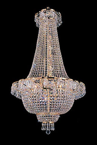 French Empire Crystal Gold Chandelier Lighting - Great for The Dining Room, Foyer, Entry Way, Living Room