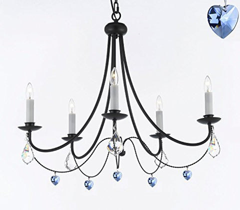 "Empress Crystal (Tm) Wrought Iron Chandelier Chandeliers Lighting H.22.5"" X W.26"" With Blue Heart Crystals - J10-B85/B7/26031/5"