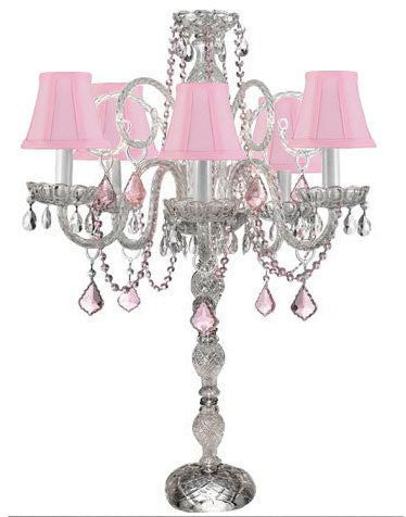 Set Of 10 Wedding Candelabras Candelabra Centerpiece Centerpieces W/Pink Shade And Pink Crystal - Great For Special Events - Set Of 10 - G46-Sc/B2/545/5/Pinkshade-Set Of 10