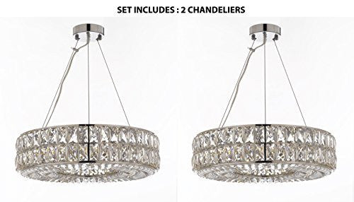 "Set Of 2 - Crystal Nimbus Ring Chandelier Modern / Contemporary Lighting Pendant 20"" Wide - Good For Dining Room Foyer Entryway Family Room And More - Set Of 2 - Gb104-3063/8"