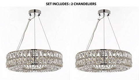 "Set Of 2 - Crystal Spiridon Ring Chandelier Modern / Contemporary Lighting Pendant 20"" Wide - Good For Dining Room Foyer Entryway Family Room And More - Set Of 2 - Gb104-3063/8"