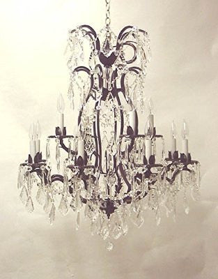 "Wrought Iron Crystal Chandelier W/Swarovski Crystal H36"" X W28"" - A83-52/3034/8+4Sw"