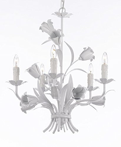 "White Wrought Iron Floral Chandelier Crystal Flower Chandeliers Lighting H19"" X W23"" - J10-White/325/5"