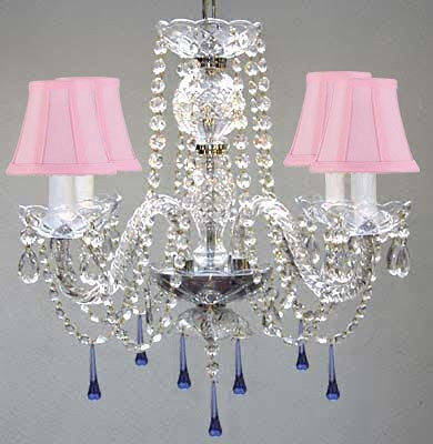 "Murano Venetian Style All Crystal Chandelier Lighting W/ Blue Crystals H17"" X W17"" With Pink Shade - G46-Sc/Pinkshade/B33/275/4"