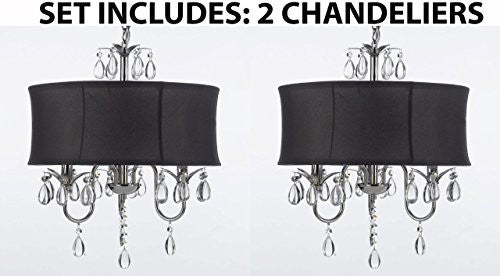 Set Of 2 - Modern Contemporary Black Drum Shade & Crystal Ceiling Chandelier Pendant Lightning Fixture - A7-Black/834/3-Set Of 2