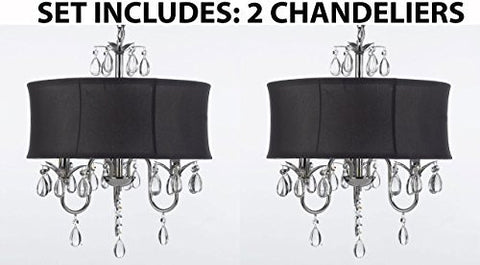 Set Of 2 - Modern Contemporary Black Drum Shade & Crystal Ceiling Chandelier Pendant Lightning Fixture - J10-Black/26032/3-Set Of 2