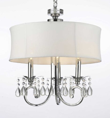 Fabric Shade 3-Light Crystal Chandelier Lighting Swag Plug In-Chandelier W/ 14' Feet Of Hanging Chain And Wire - F7-B15/1128/3