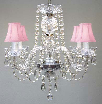 "All Crystal Chandelier With Pink Shades H17"" X W17"" - Go-A46-Pinkshades/275/4"