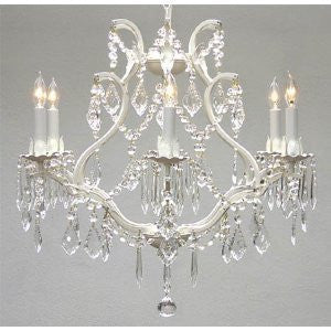 "White Wrought Iron Crystal Chandelier Lighting H 19"" W 20"" Swag Plug In-Chandelier W/ 14' Feet Of Hanging Chain And Wire - A83-B17/White/3530/6"