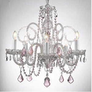 Crystal Chandelier Lighting With Pink Color Crystal Swag Plug In-Chandelier W/ 14' Feet Of Hanging Chain And Wire - A46-B15/Pinkb2/385/5