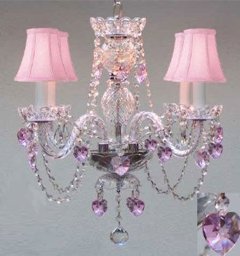 "Chandelier Lighting W/ Crystal Pink Shades & Hearts! H 17"" - Perfect For Kid'S And Girls Bedroom! W 17"" - A46-B23/Pinkshades/275/4"