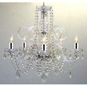 "Empire Victorian Chandelier with Swarovski Crystal w/Chrome Sleeves H25"" X W24"" - GO-B43/A46-385/5SW"