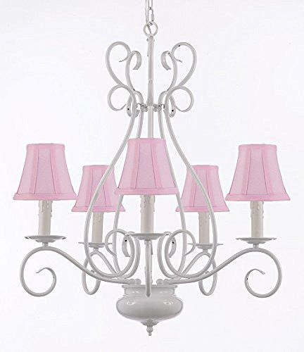 "White Wrought Iron Tole Chandeliers Lighting W/ Pink Shades H 25.5"" X W 25.5"" - A7-Sc/Pinkshade/White/441/5"