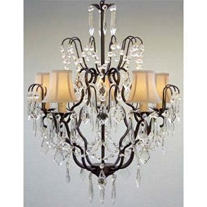 "New Wrought Iron & Crystal Chandelier With White Shades H27"" X W21"" - J10-Whiteshades/C/Black/26034/5"
