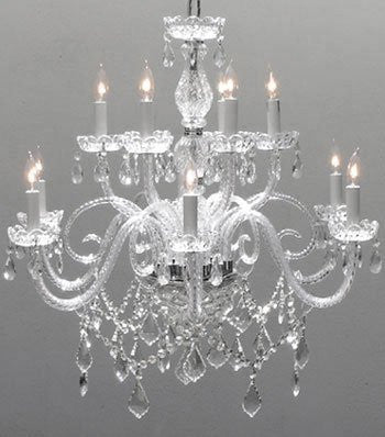 "Swarovski Crystal Trimmed Chandelier! Chandelier Lighting Crystal Chandeliers H27"" X W32"" - F46-386/6+6 Sw"